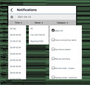 notification filtering on blackvue app